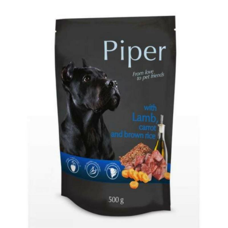 Piper Adult, carne de miel, morcovi si orez brun, plic 500 g imagine