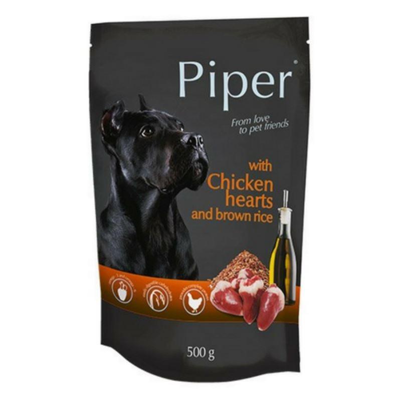 Piper Adult, inimi de pui si orez brun, plic, 500 g imagine