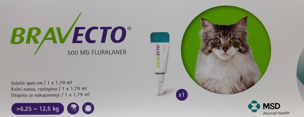 Bravecto 500 Mg Solutie Spot-on Pentru Pisici De Talie Mare (>6.25 - 12.5 Kg)