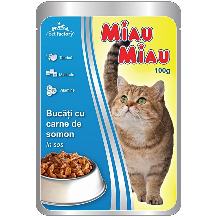 Mancare umeda pisici, Miau Miau, Somon, 100g