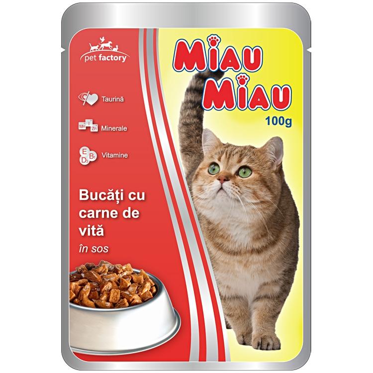 Mancare umeda pisici, Miau Miau, Vita, 100g