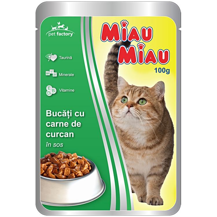 Mancare umeda pisici, Miau Miau, Curcan, 100g