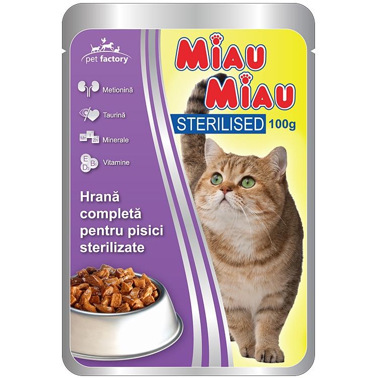 Mancare umeda pisici, Miau Miau Sterilised, 100g