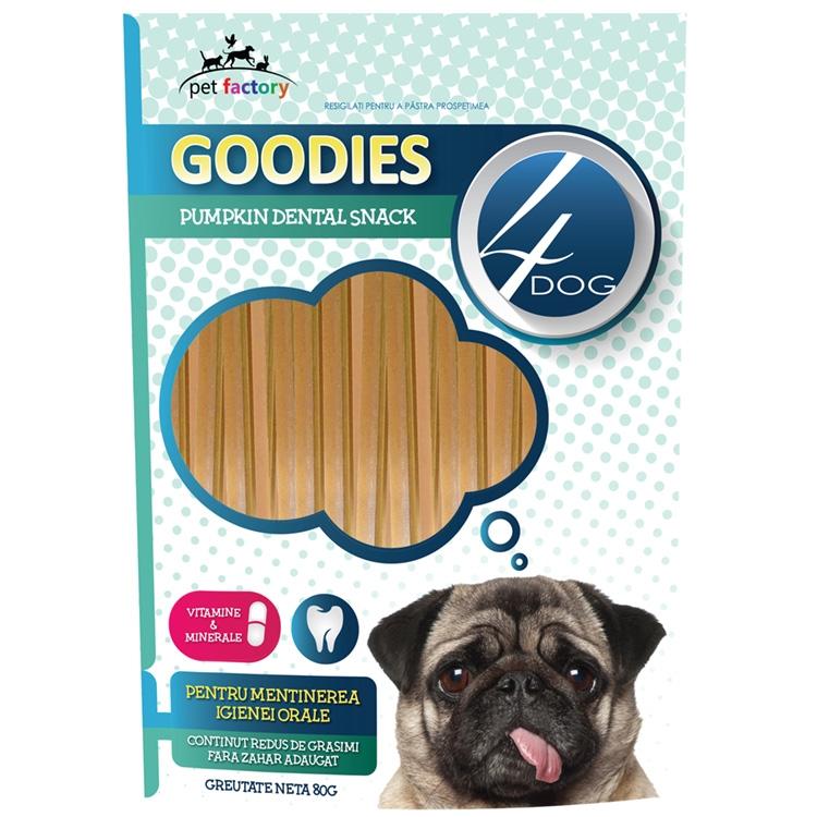 Recompense caini, 4Dog Goodies, Dental Sticks, Dovlecel si Vitamine, 80g imagine