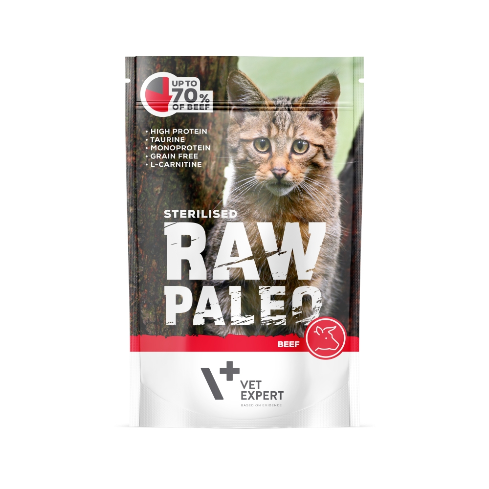 Hrana umeda pentru pisici sterilizate, RAW PALEO CAT, carne de vita, 100 g imagine