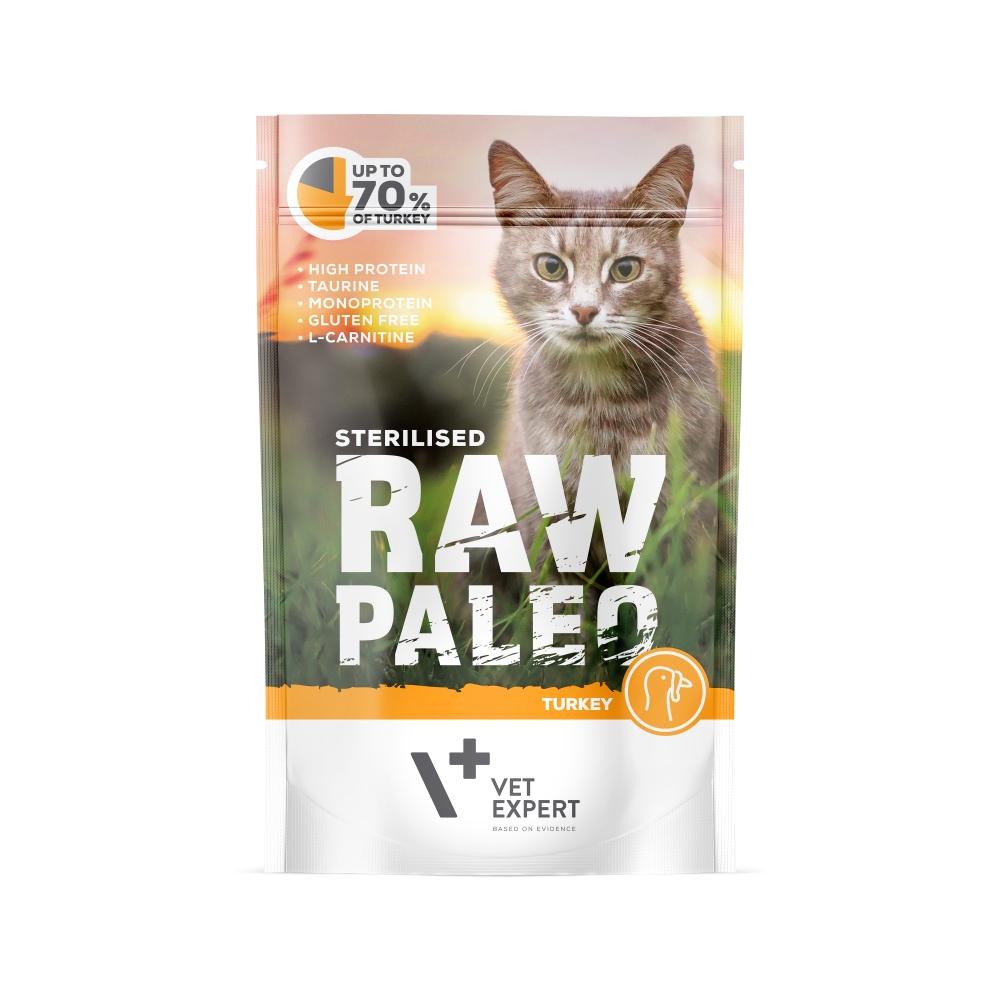 Hrana umeda pentru pisici sterilizate, RAW PALEO CAT, carne de curcan, 100 g imagine