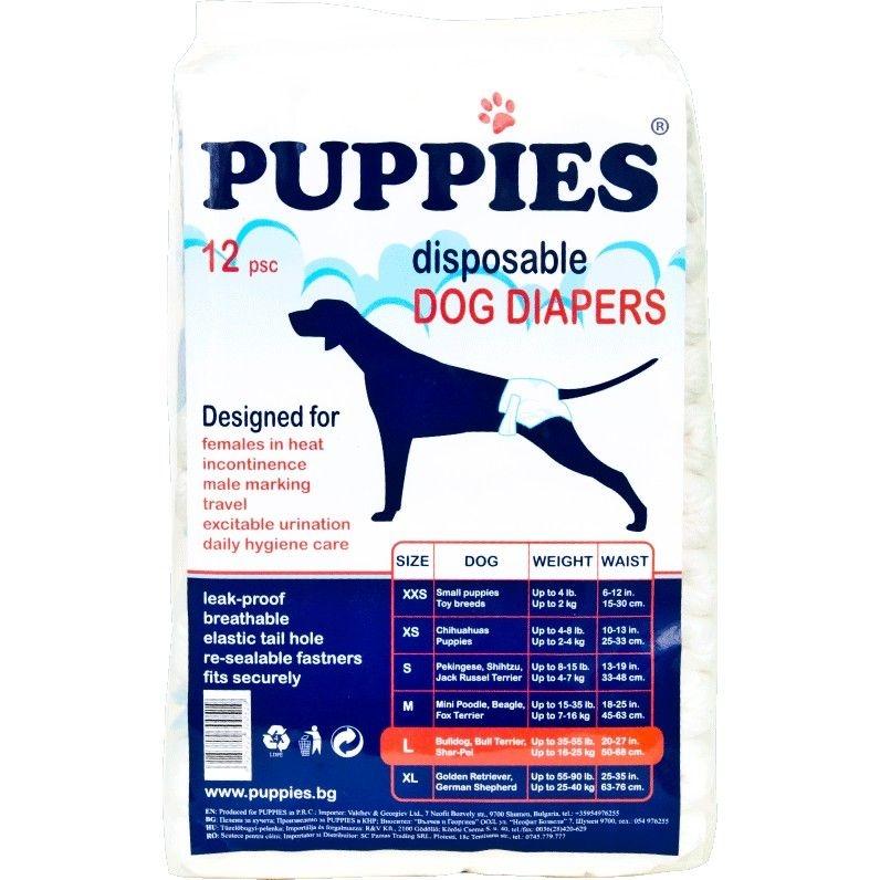 Scutece pentru caini, Puppies L, 12 buc imagine