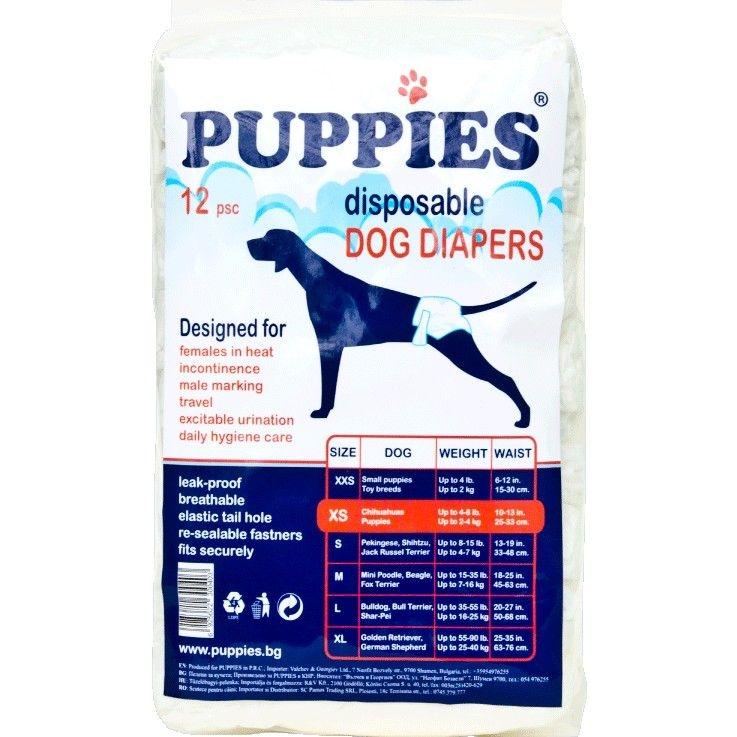 Scutece pentru caini, Puppies XS, 12 buc imagine