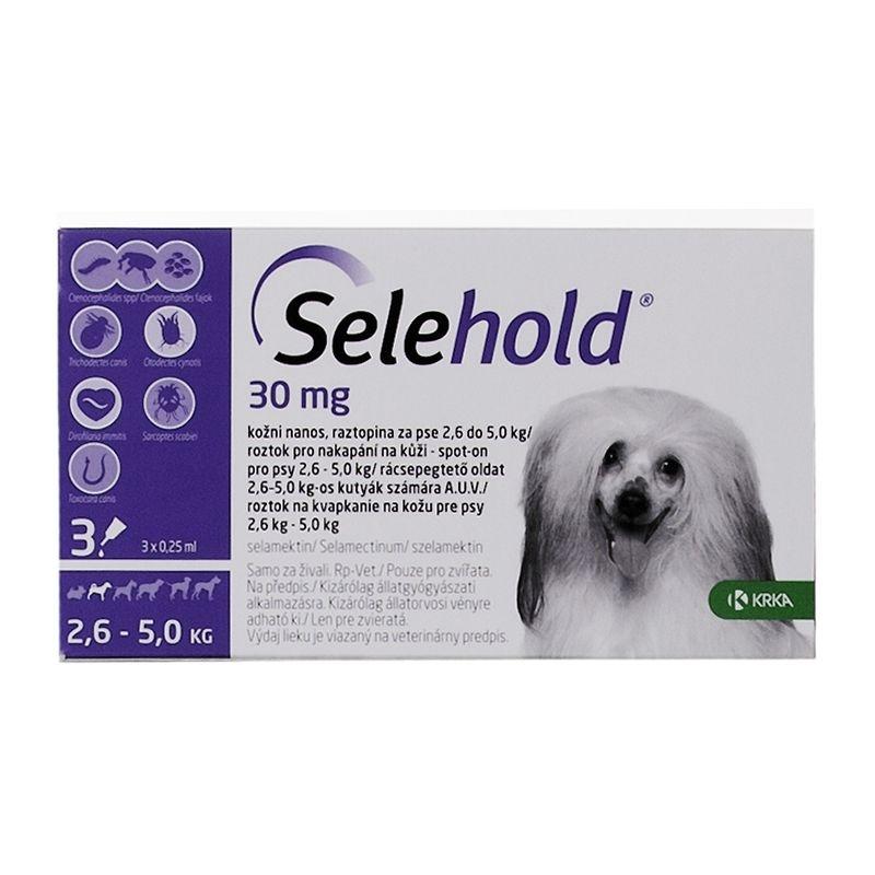 Selehold Dog 30 mg / ml (2.6 - 5 kg), 3 x 0.25 ml imagine