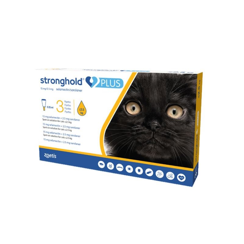 Stronghold Plus Pisica 15 mg, 0.25 ml (< 2.5 kg), 3 pipete imagine