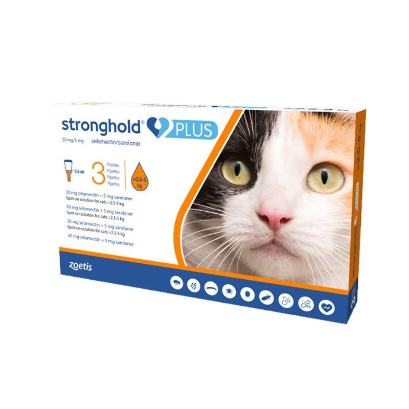 Stronghold Plus Pisica 30 Mg, 0.5 Ml (2.5 - 5 Kg), 3 Pipete