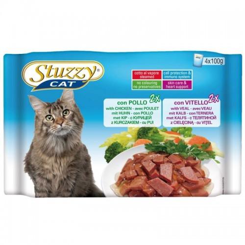 Hrana umeda pisici, Stuzzy pui si vitel, 4 x 100 g imagine