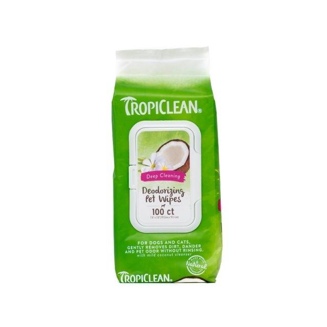 Servetele pentru caini si pisici, Tropiclean Deep Cleaning, 100 buc imagine