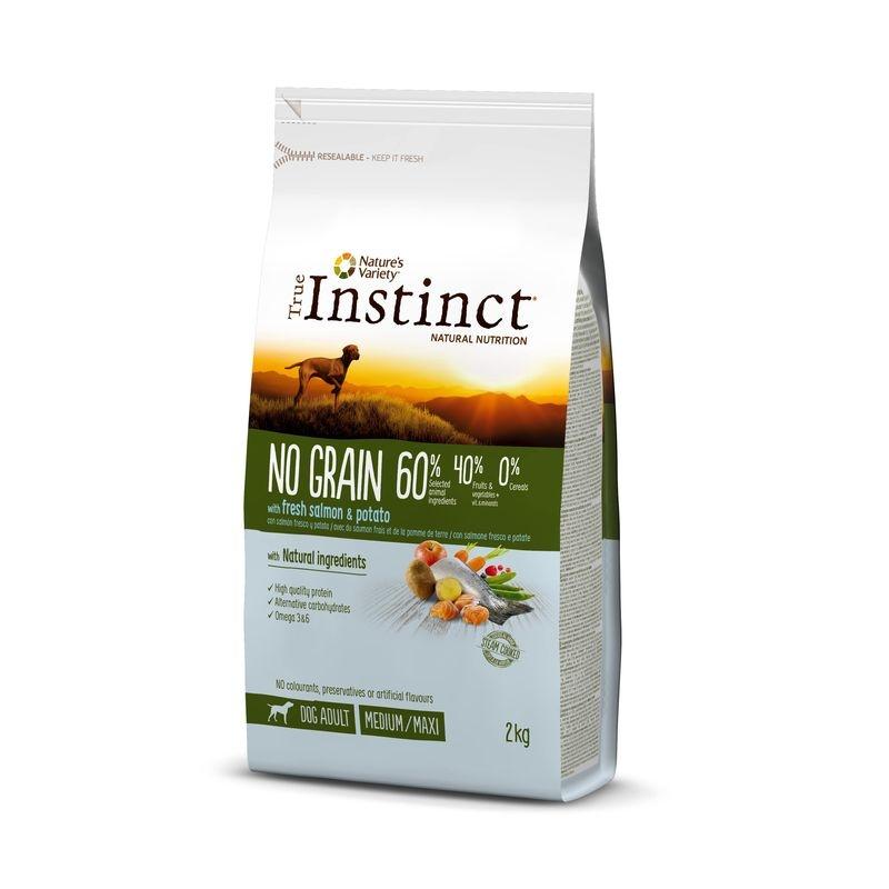 True Instinct Dog No Grain Medium - Maxi Adult cu somon, 2 kg imagine