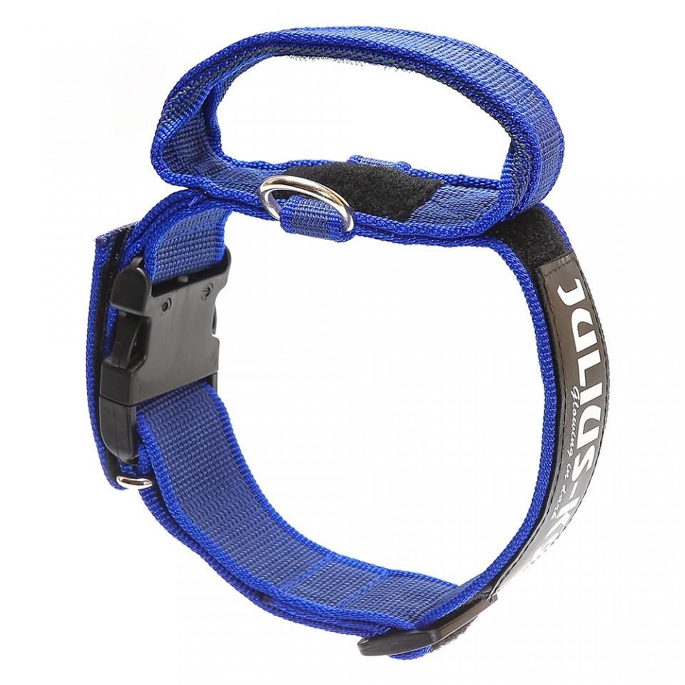 Zgarda K9 nylon cu maner, 40 mm, albastra imagine